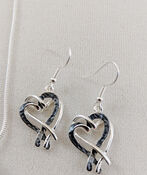 Intertwined Hearts Necklace and Earrings Set, Silver, original image number 2