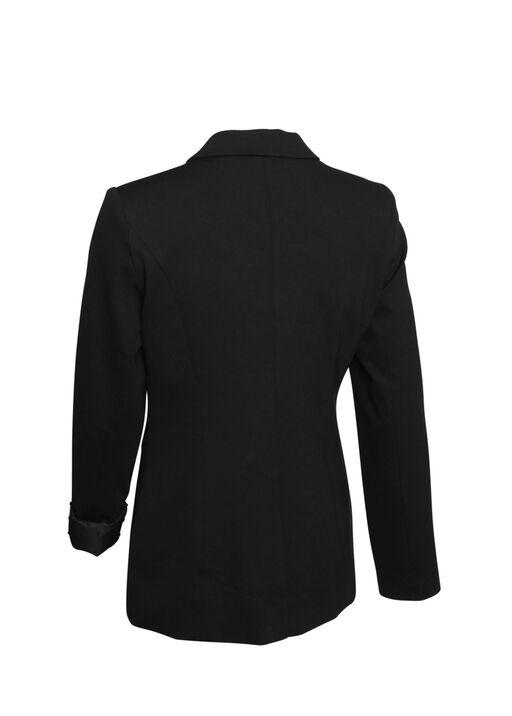 Swiss Dot Cuffed Blazer, Black, original