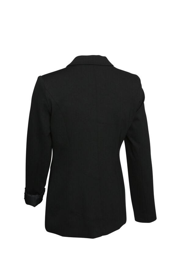 Swiss Dot Cuffed Blazer, Black, original image number 1
