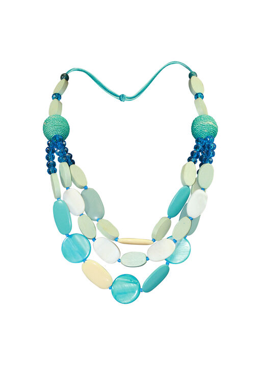 Multi Strand Wood and Shell Beaded Necklace, Turquoise, original