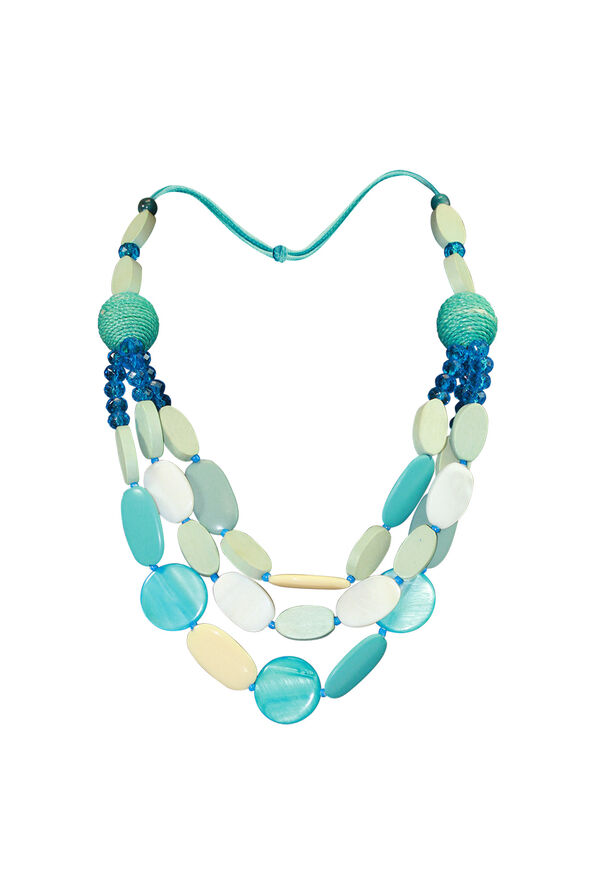 Multi Strand Wood and Shell Beaded Necklace, Turquoise, original image number 0