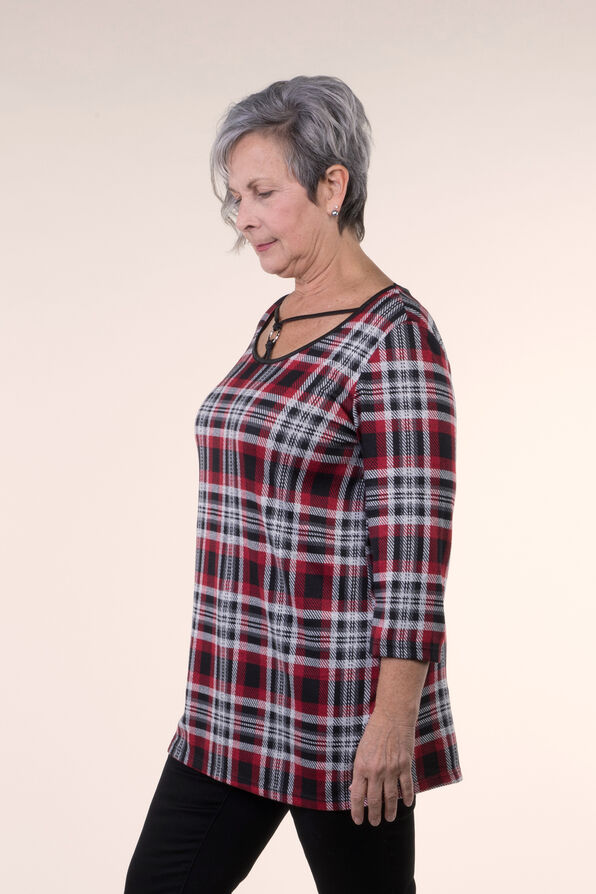 Plaid Knit Tunic , Red, original image number 2