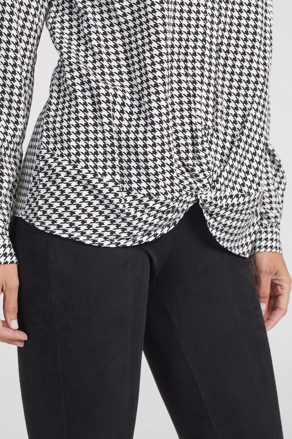 Knotted Houndstooth Button Front, Black, original image number 4