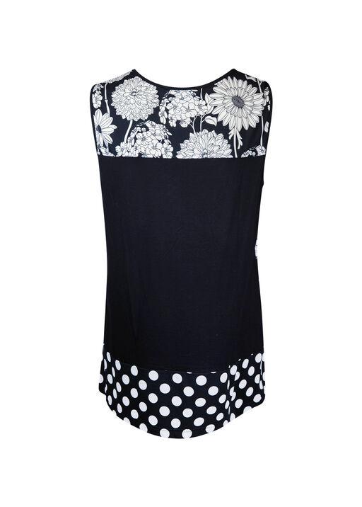Floral and Polka Dot Sleeveless Top, Black, original