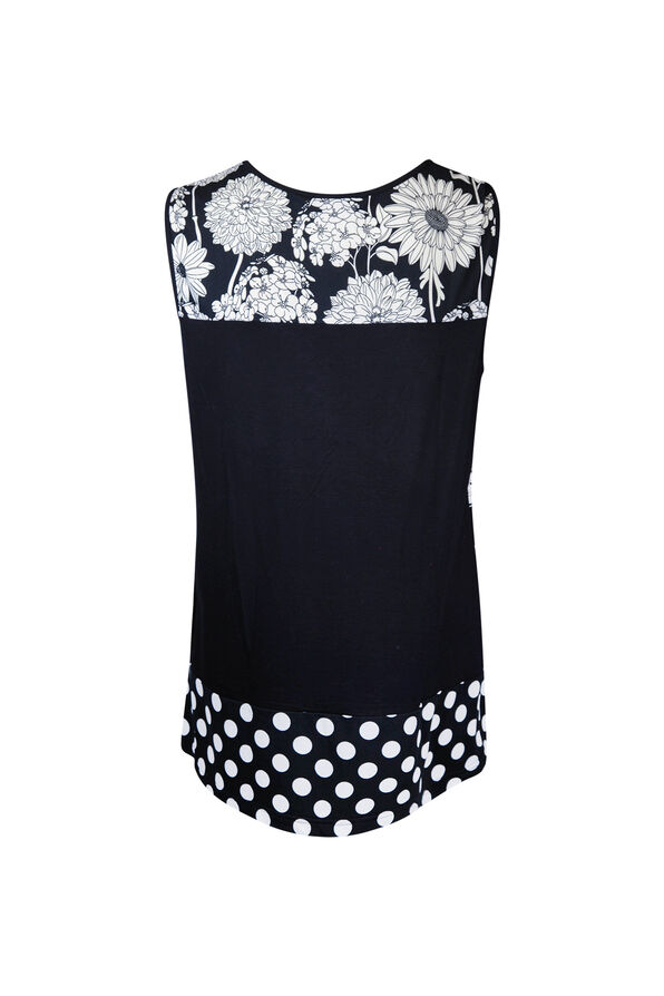 Floral and Polka Dot Sleeveless Top, Black, original image number 1