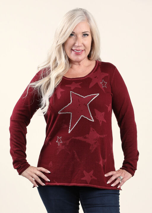 Long Sleeve Novelty Sweater, Wine, original