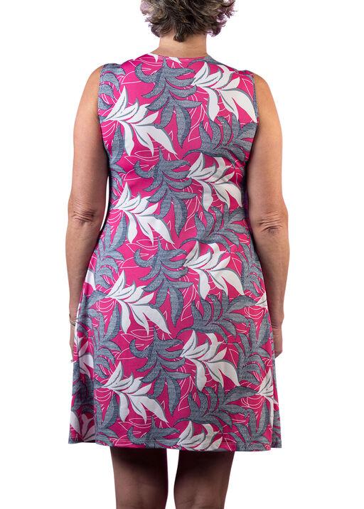 Sleeveless Puff Print Dress with Pleats, Pink, original