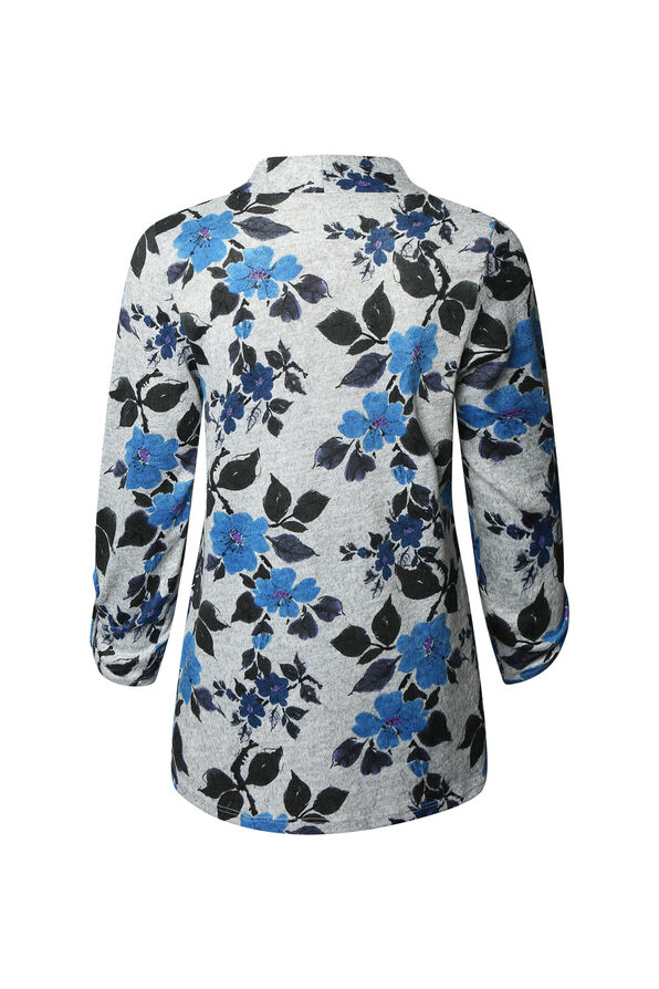 Floral Print V-Neck Sweater, Blue, original image number 1