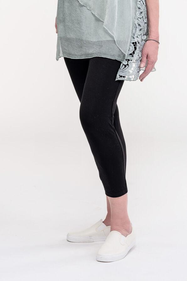 V-Waist Bamboo Capri Legging, Black, original image number 0