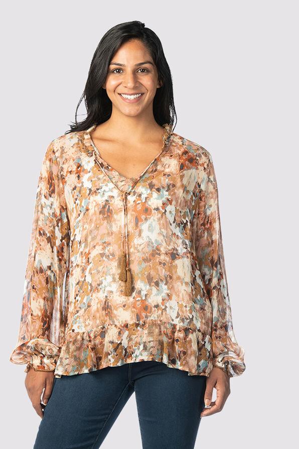 Tassle-Floral 70's Blouse, Brown, original image number 1