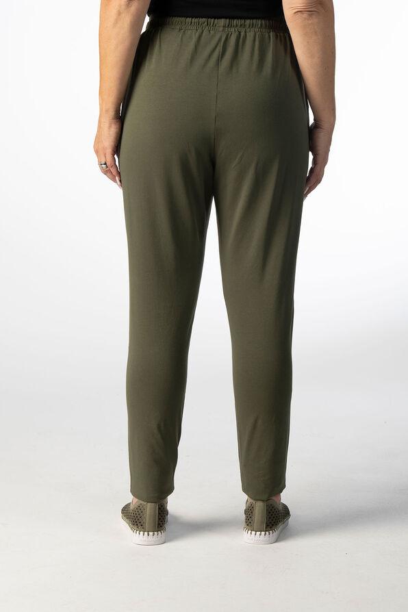 Taper Drawstring Knit Pants, Olive, original image number 2