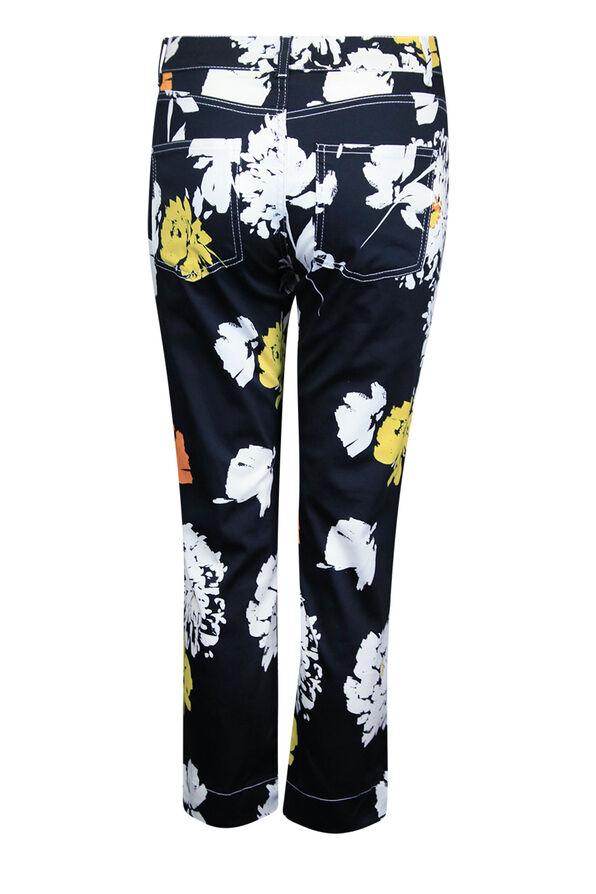 Floral Print 5 Pocket Crop Pant, Black, original image number 1