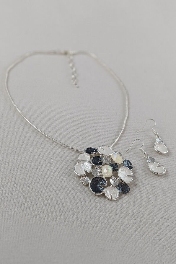 Lily Pads Necklace and Earrings Set, White, original image number 0