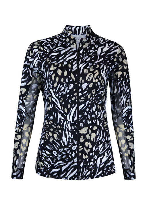 Animal Print Zip Golf Long Sleeve, Natural, original