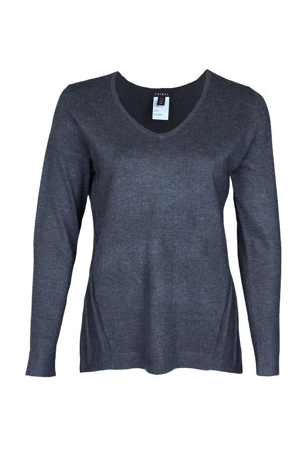 Raya Ribbed Back V-Neck Sweater, , original image number 2