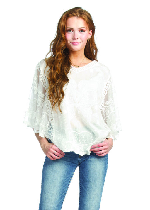 Butterfly Embroidered Lace Batwing Top, , original