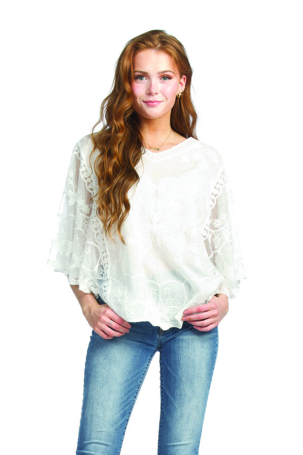 Butterfly Embroidered Lace Batwing Top, , original image number 1