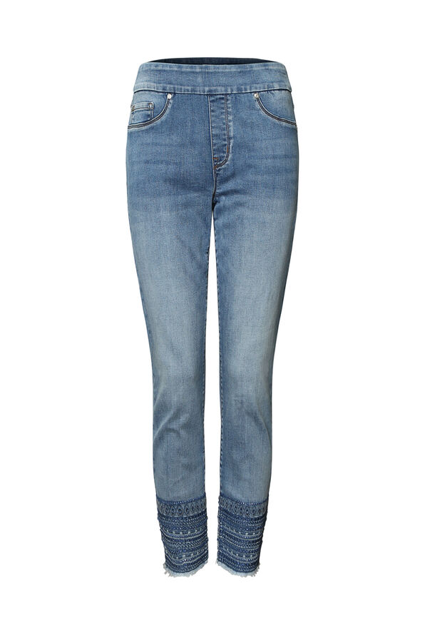 Hem Adorned Pull-On Jean, Denim, original image number 0