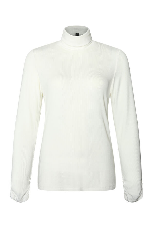 Ruched-sleeve Ribbed Turtleneck, , original image number 1
