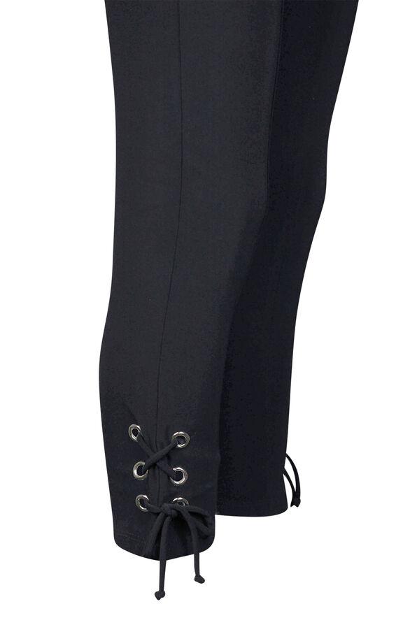 Capri Legging with Laced Hem, Black, original image number 2