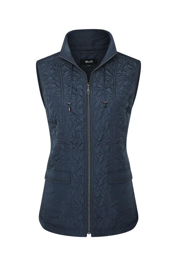 Quilted Heart Vest with Studded Pockets, , original image number 1