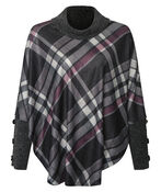 Plaid Poncho with Turtle Neck, Charcoal, original image number 0