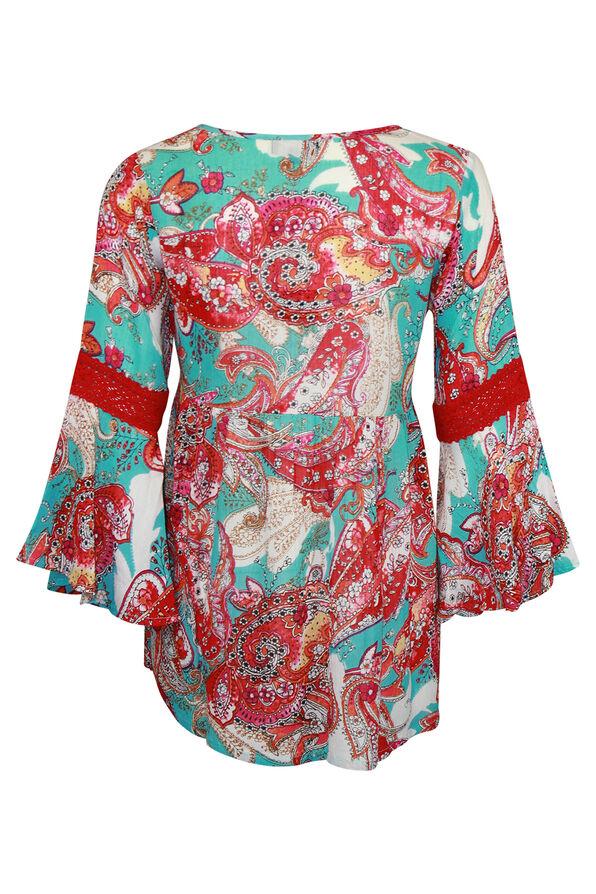 3/4 Bell Sleeve Peasant Blouse, Aqua, original image number 1