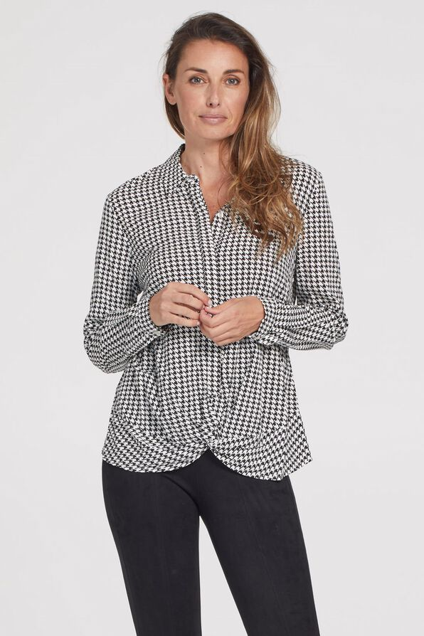 Knotted Houndstooth Button Front, Black, original image number 2