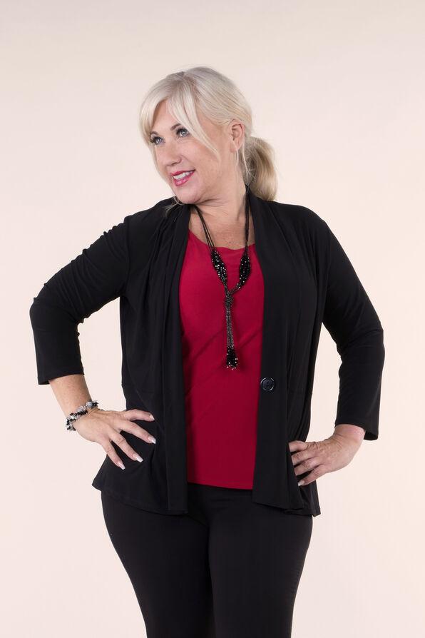 3/4 Sleeve Solid Knit Jacket, Black, original image number 1