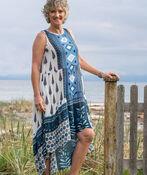 Sleeveless Boho Hi-Lo Maxi Dress, Blue, original image number 0