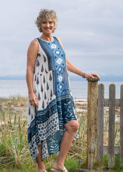 Sleeveless Boho Hi-Lo Maxi Dress, Blue, original