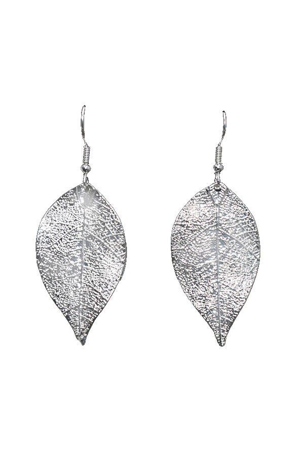 Foiled Leaf Earrings, Silver, original image number 0