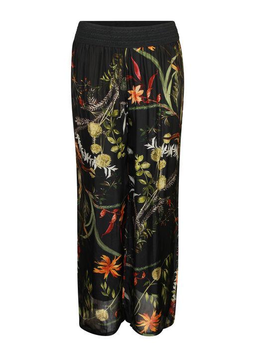 Floral Print Silk Wide Leg Pant , , original