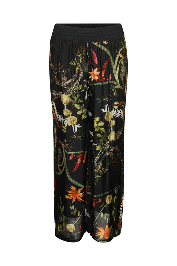 Floral Print Silk Wide Leg Pant , , original image number 1