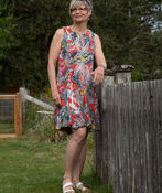 Sleeveless Paisley Print Midi Dress with Keyhole, Coral, original image number 0
