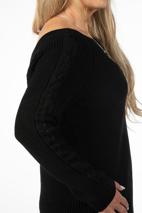 Wear It 2 Ways CableKnit Sweater, Black, original image number 4