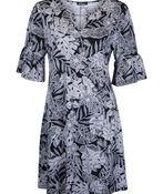 Keyhole Neckline Shift Dress with 1/2 Ruffle Sleeve , Black, original image number 0