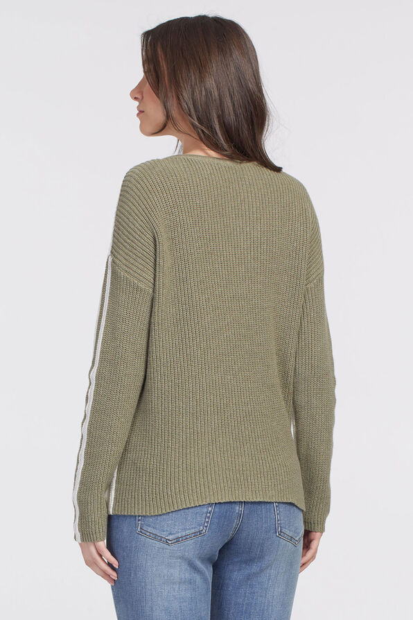 Colorblock V-Neck Sweater, Cream, original image number 1