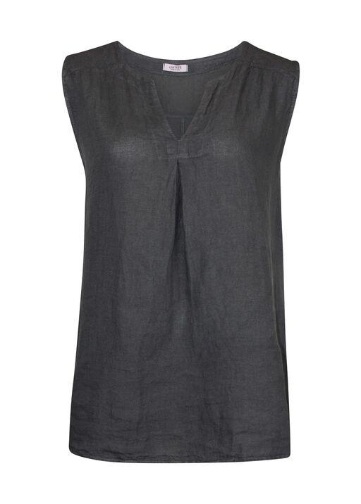 Sleeveless Linen Top Split V-Neck, , original