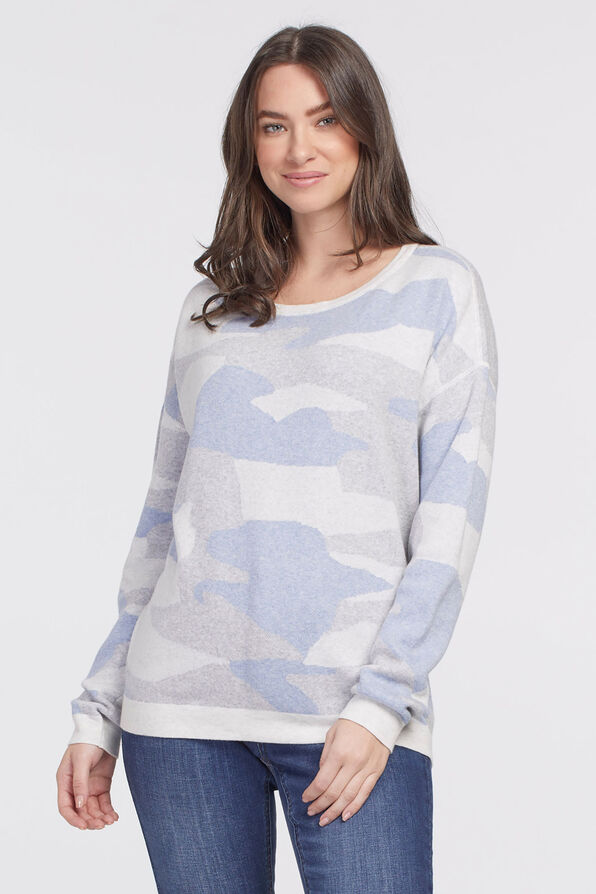 Cool-Cotton Camouflage Sweatshirt, Blue, original image number 0