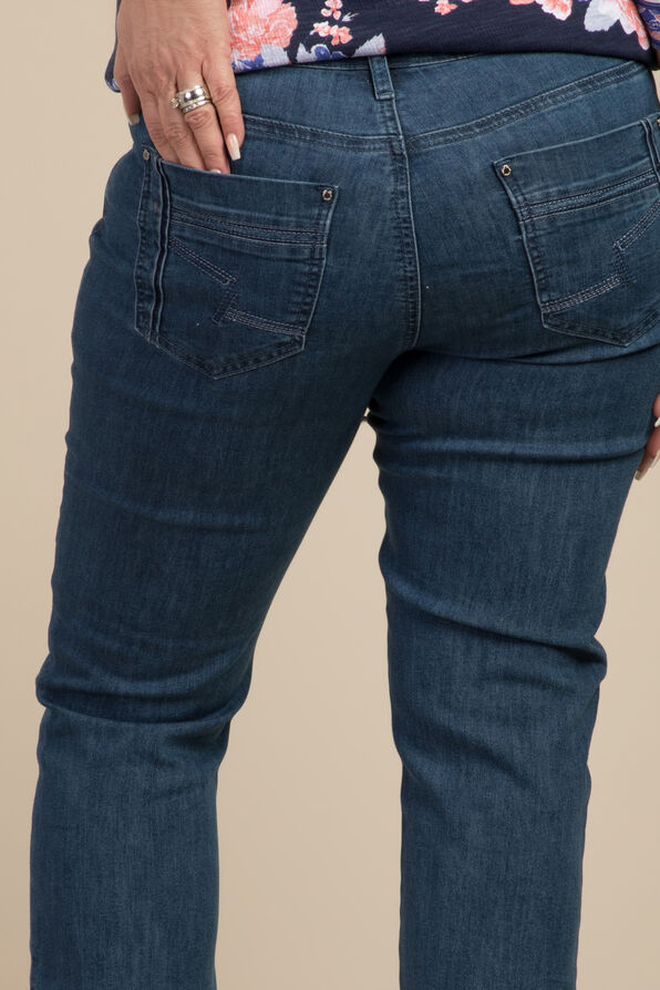 Embroidered Pocket Capri, Denim, original image number 1