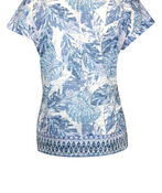 Tropical Print T-Shirt with Border Print and Side Tie, Blue, original image number 1