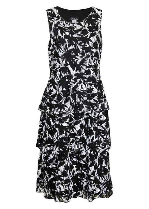 Sleeveless Lace Tiered Midi Dress, Black, original