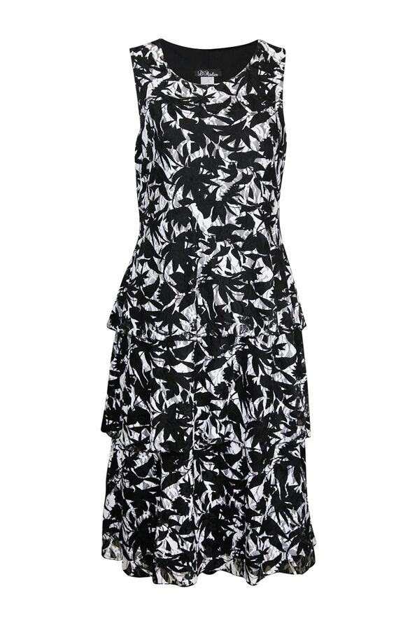 Sleeveless Lace Tiered Midi Dress, Black, original image number 0