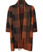 Plaid Cardigan with Attached Scarf, , original image number 1