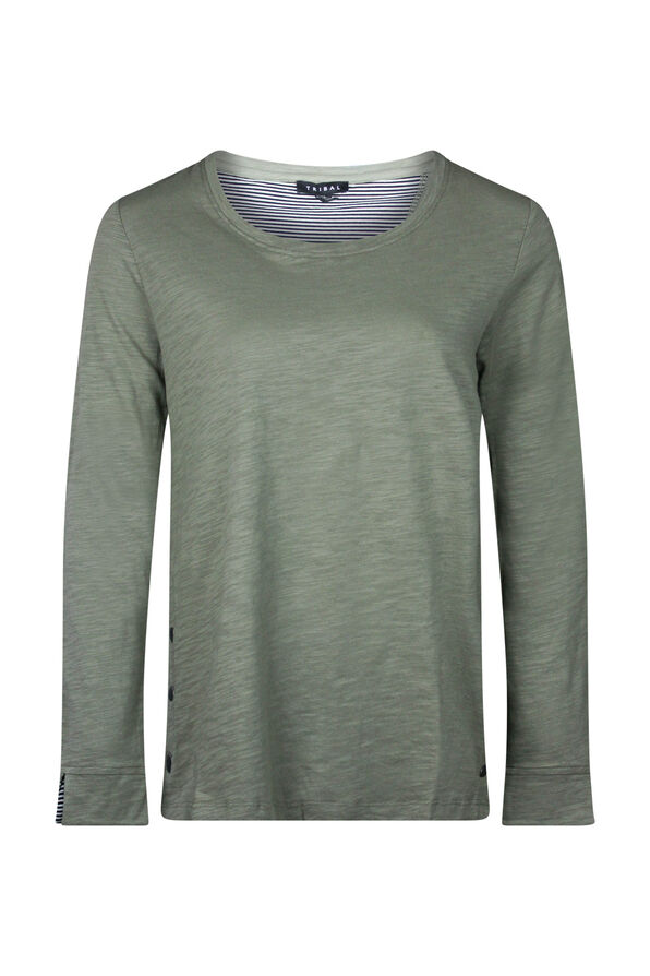 Cotton Crew Neck with Side Snaps, , original image number 3