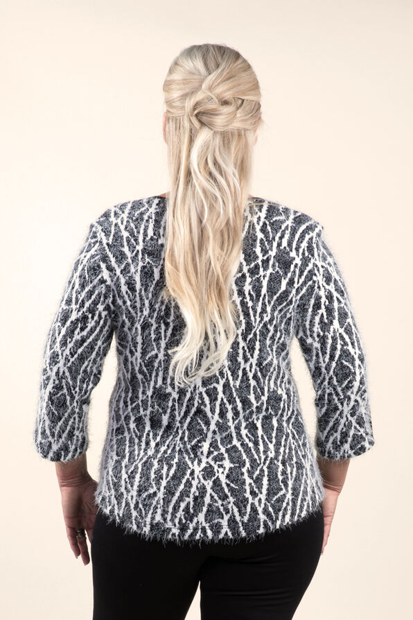 Cozy Print Sweater Knit Top, Black, original image number 1