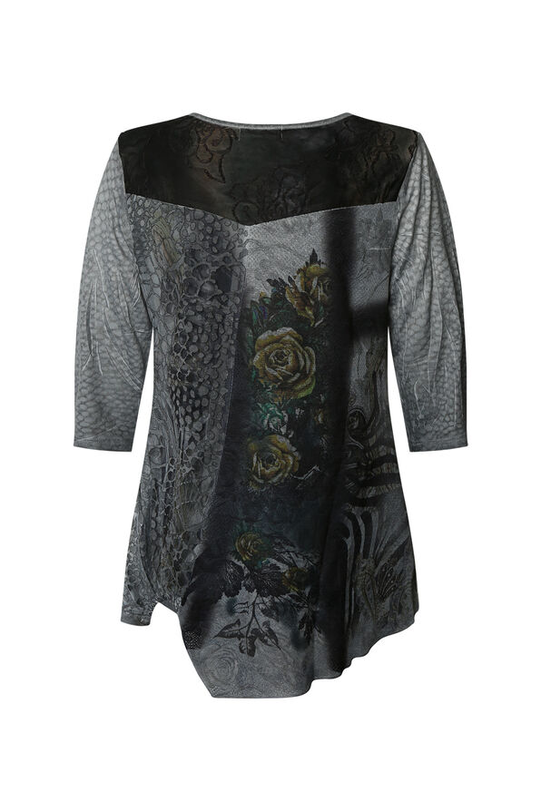 Mesh Accented Tunic, Grey, original image number 1