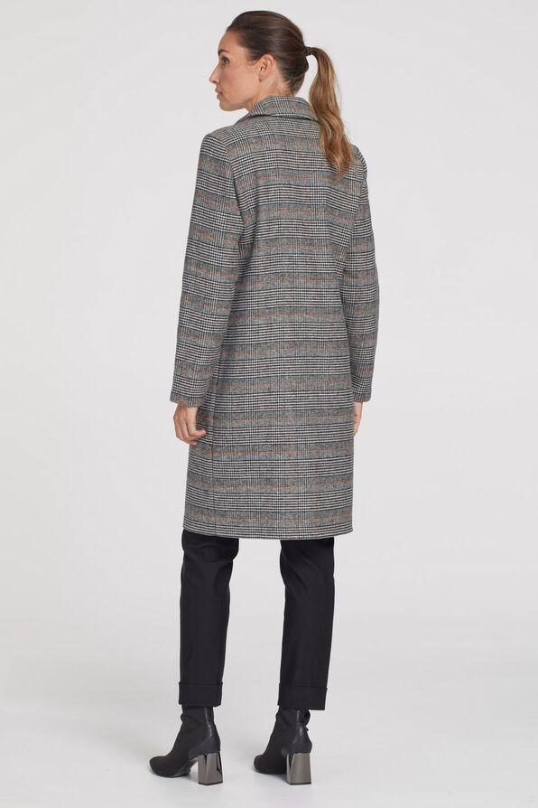 Plaid Wool Knee Length Pea Coat, Rust, original image number 2