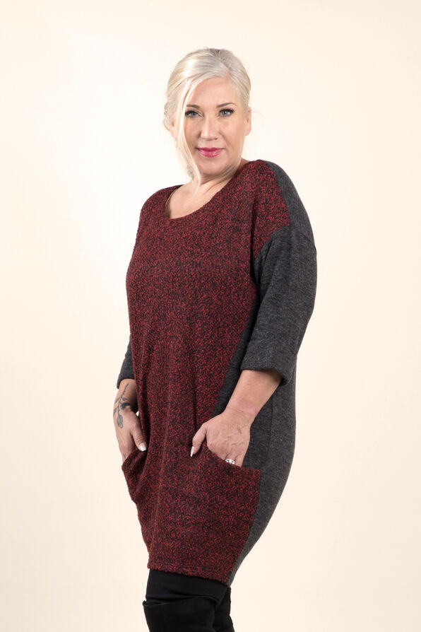 Beautiful Boucle Knit Tunic, Red, original image number 2